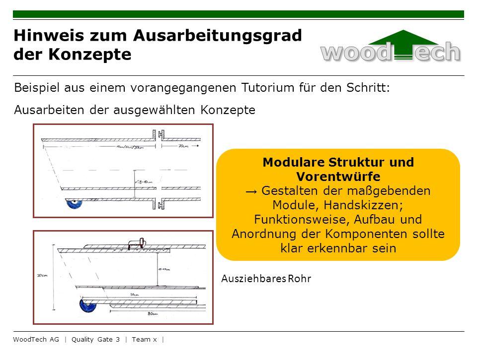 Hinweis zum Ausarbeitungsgrad der Konzepte WoodTech AG | Quality Gate 3 | Team x | Verstellbares Rohr 4 A B Aufsatz Ausziehbares Rohr Beispiel aus ein