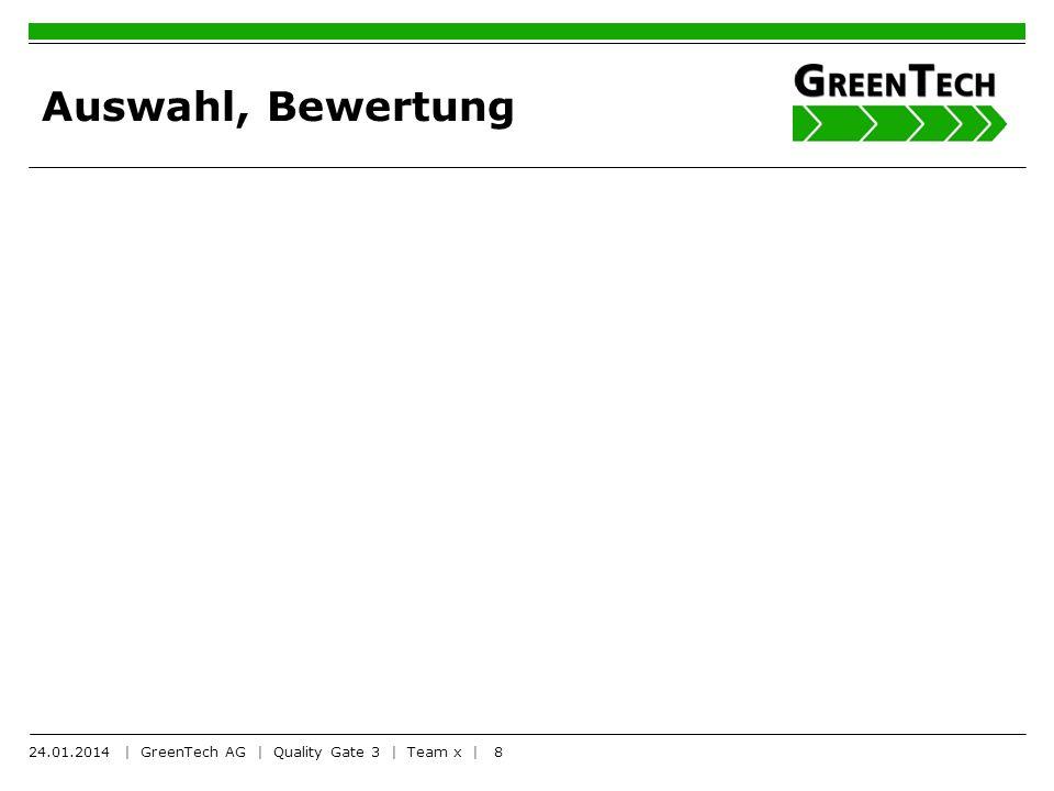 8 Auswahl, Bewertung 24.01.2014 | GreenTech AG | Quality Gate 3 | Team x |