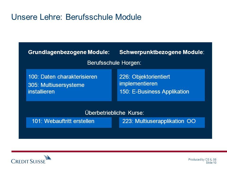 Produced by CS IL 08 Slide 10 Unsere Lehre: Berufsschule Module Grundlagenbezogene Module: 100: Daten charakterisieren 305: Multiusersysteme installie