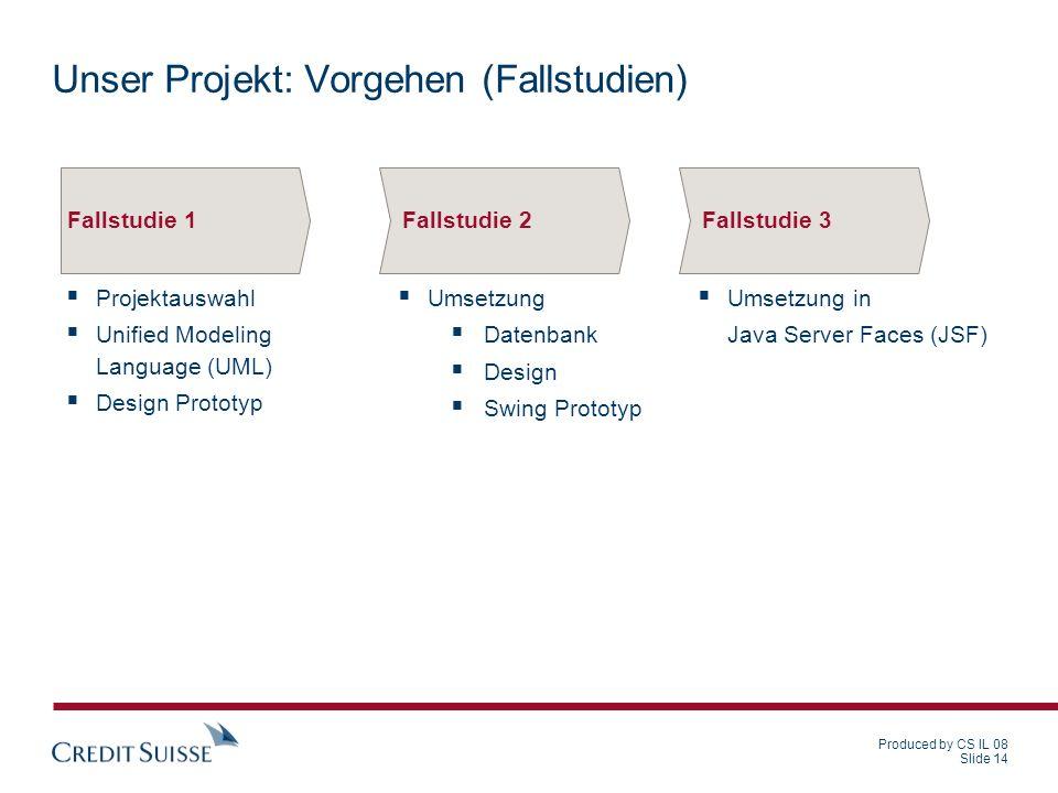 Produced by CS IL 08 Slide 14 Unser Projekt: Vorgehen (Fallstudien) Projektauswahl Unified Modeling Language (UML) Design Prototyp Fallstudie 1 Umsetz
