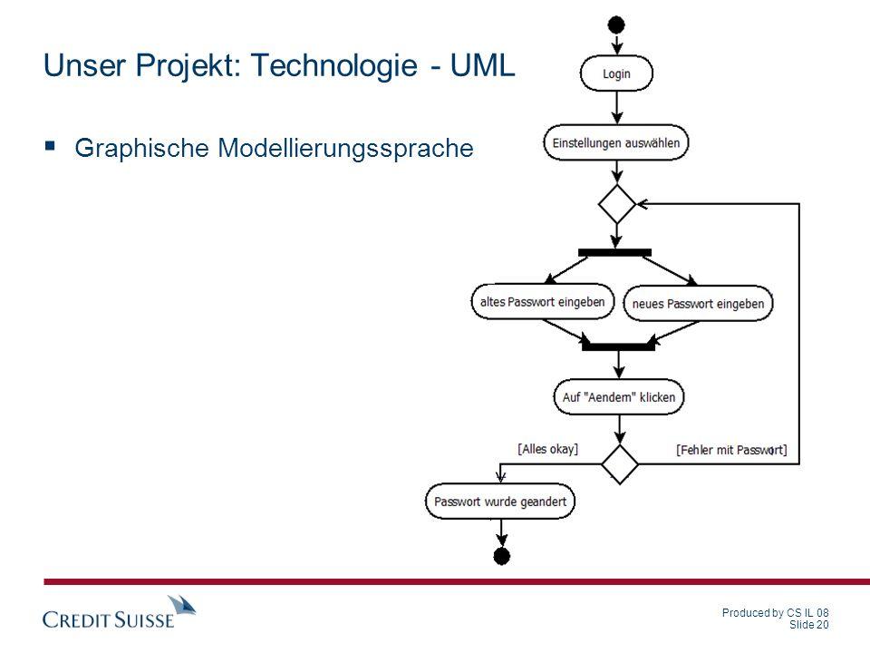 Produced by CS IL 08 Slide 20 Unser Projekt: Technologie - UML Graphische Modellierungssprache