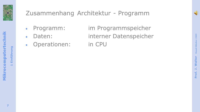 Mikrocomputertechnik 1 Einführung Prof. J. Walter Stand Oktober 2009 7 Zusammenhang Architektur - Programm Programm: im Programmspeicher Daten: intern
