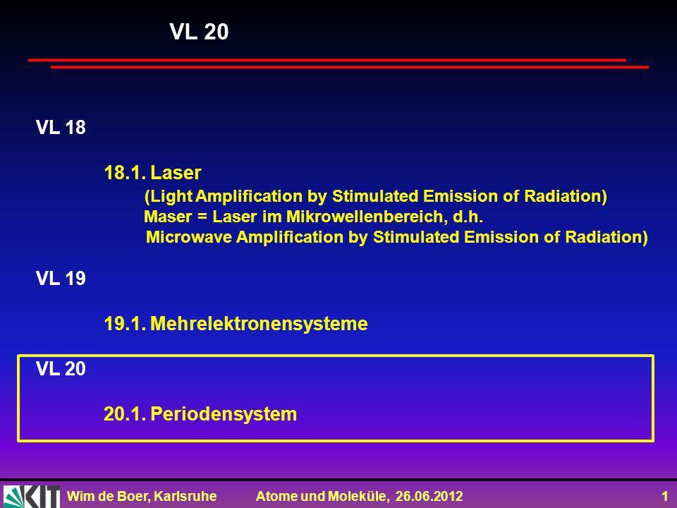 Wim de Boer, Karlsruhe Atome und Moleküle, 26.06.2012 1 VL 18 18.1. Laser (Light Amplification by Stimulated Emission of Radiation) Maser = Laser im M