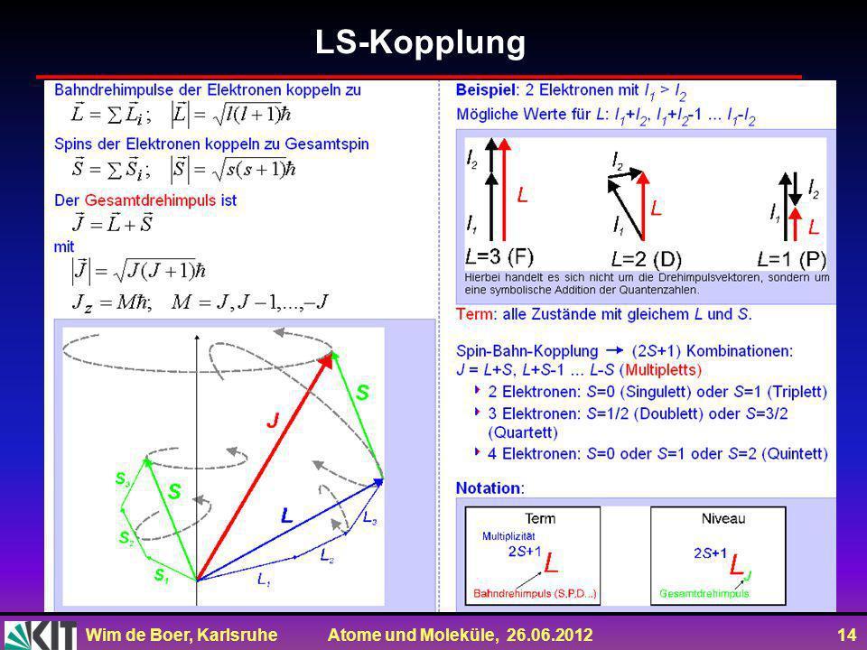 Wim de Boer, Karlsruhe Atome und Moleküle, 26.06.2012 14 LS-Kopplung
