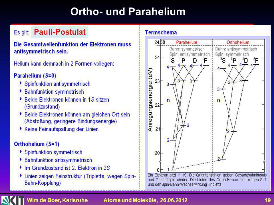 Wim de Boer, Karlsruhe Atome und Moleküle, 26.06.2012 19 Ortho- und Parahelium Pauli-Postulat