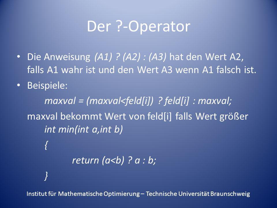 Der -Operator Die Anweisung (A1) .