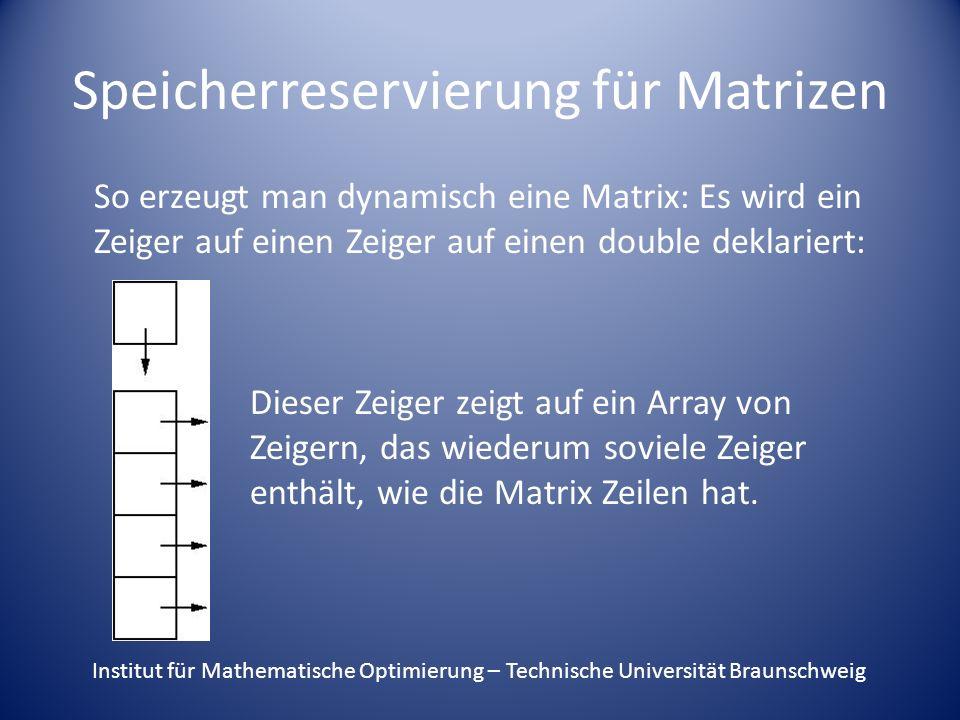 Speicherreservierung für Matrizen So erzeugt man dynamisch eine Matrix: Es wird ein Zeiger auf einen Zeiger auf einen double deklariert: Dieser Zeiger zeigt auf ein Array von Zeigern, das wiederum soviele Zeiger enthält, wie die Matrix Zeilen hat.