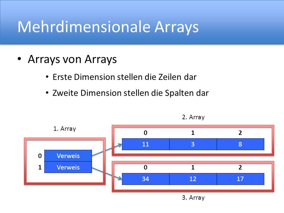 Mehrdimensionale Arrays Arrays von Arrays Erste Dimension stellen die Zeilen dar Zweite Dimension stellen die Spalten dar 012 1138 012 341217 0Verweis
