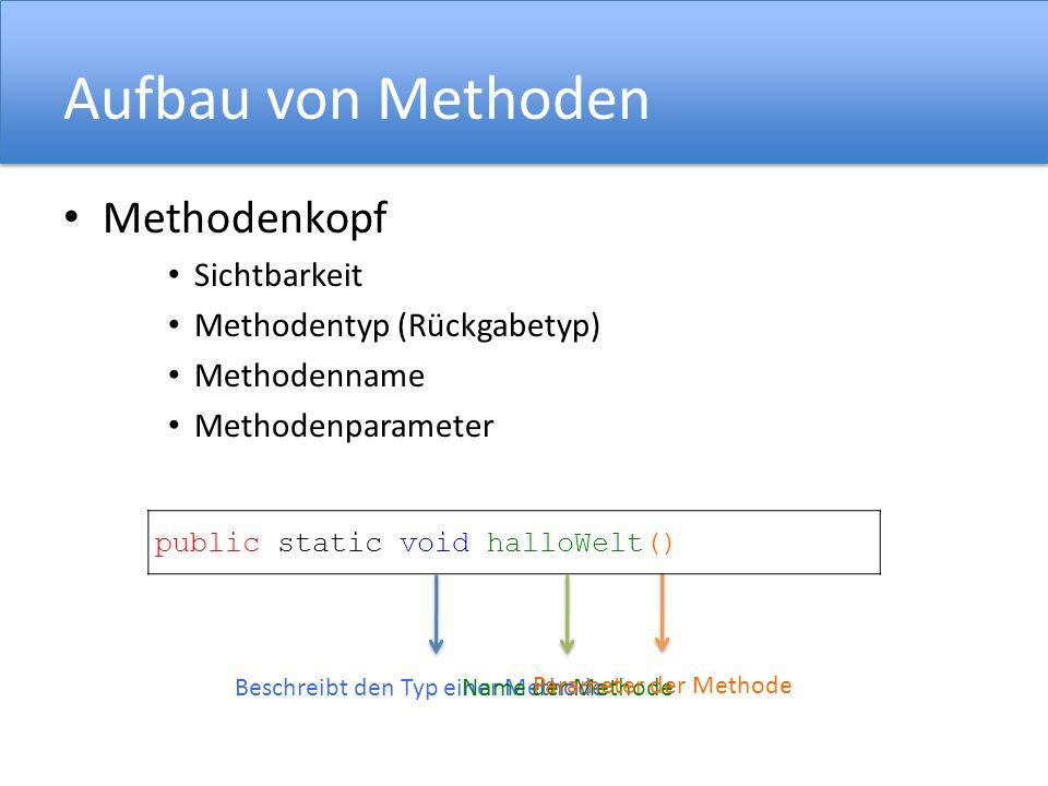 Aufbau von Methoden Methodenkopf Sichtbarkeit Methodentyp (Rückgabetyp) Methodenname Methodenparameter public static void halloWelt() Beschreibt den T