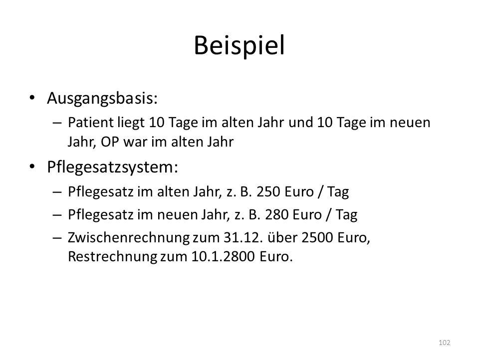 Beispiel Ausgangsbasis: – Patient liegt 10 Tage im alten Jahr und 10 Tage im neuen Jahr, OP war im alten Jahr Pflegesatzsystem: – Pflegesatz im alten