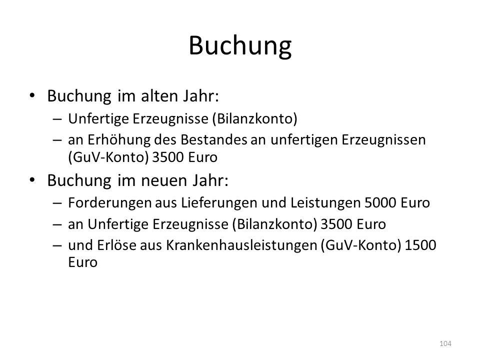 Buchung Buchung im alten Jahr: – Unfertige Erzeugnisse (Bilanzkonto) – an Erhöhung des Bestandes an unfertigen Erzeugnissen (GuV-Konto) 3500 Euro Buch