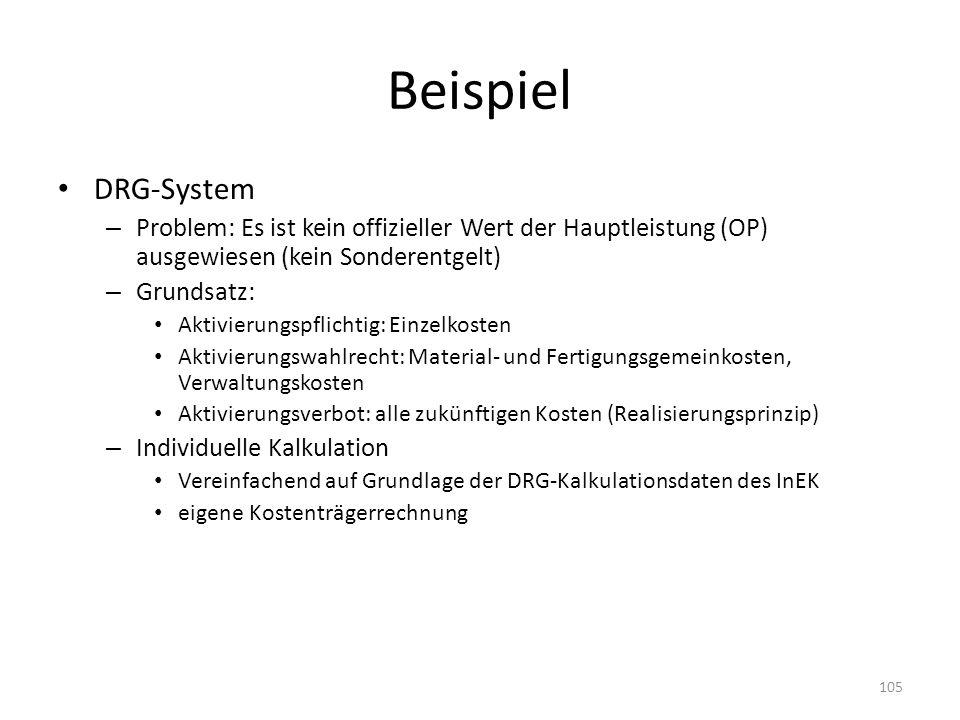 Beispiel DRG-System – Problem: Es ist kein offizieller Wert der Hauptleistung (OP) ausgewiesen (kein Sonderentgelt) – Grundsatz: Aktivierungspflichtig