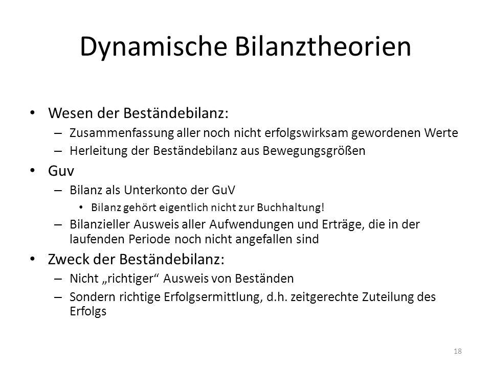 Dynamische Bilanztheorien Wesen der Beständebilanz: – Zusammenfassung aller noch nicht erfolgswirksam gewordenen Werte – Herleitung der Beständebilanz