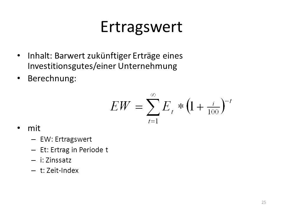 Ertragswert Inhalt: Barwert zukünftiger Erträge eines Investitionsgutes/einer Unternehmung Berechnung: mit – EW: Ertragswert – Et: Ertrag in Periode t