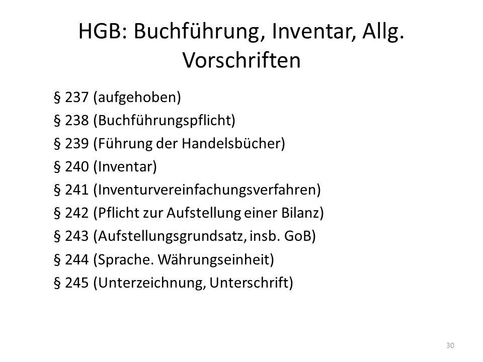 HGB: Buchführung, Inventar, Allg. Vorschriften § 237 (aufgehoben) § 238 (Buchführungspflicht) § 239 (Führung der Handelsbücher) § 240 (Inventar) § 241