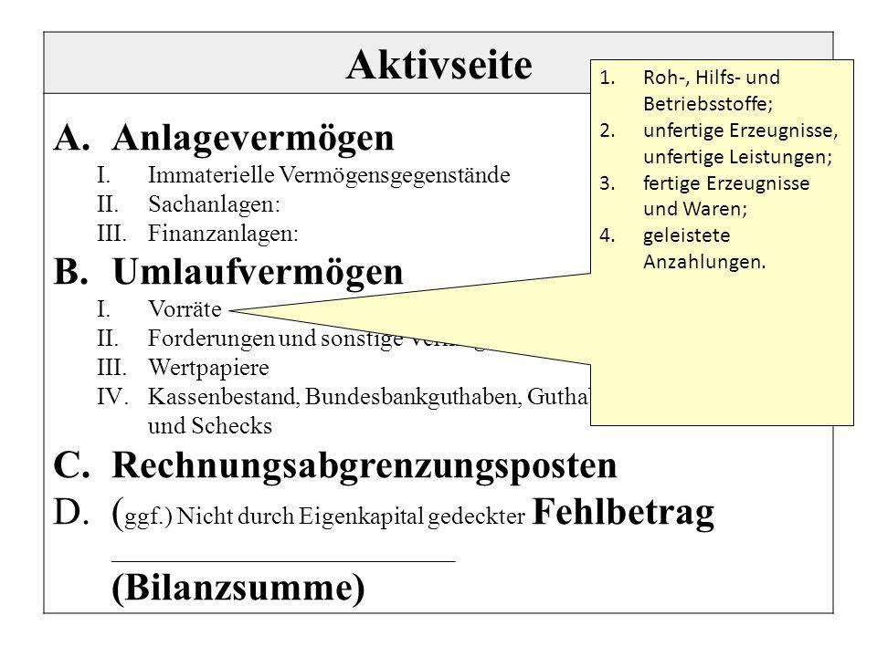 Aktivseite A.Anlagevermögen I.Immaterielle Vermögensgegenstände II.Sachanlagen: III.Finanzanlagen: B.Umlaufvermögen I.Vorräte II.Forderungen und sonst
