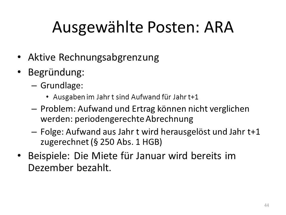 Ausgewählte Posten: ARA Aktive Rechnungsabgrenzung Begründung: – Grundlage: Ausgaben im Jahr t sind Aufwand für Jahr t+1 – Problem: Aufwand und Ertrag