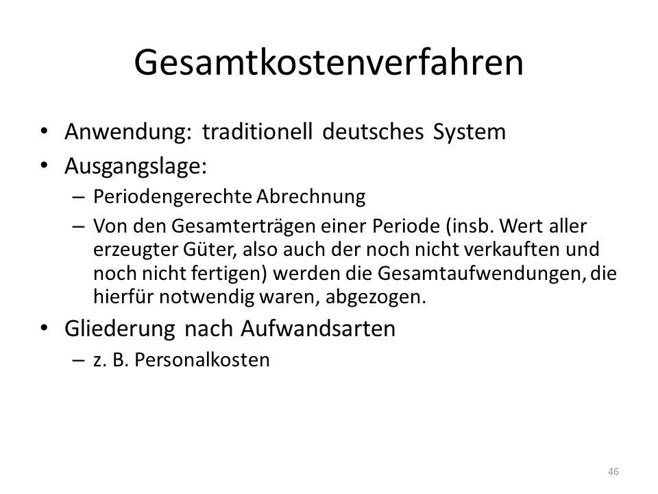 Gesamtkostenverfahren Anwendung: traditionell deutsches System Ausgangslage: – Periodengerechte Abrechnung – Von den Gesamterträgen einer Periode (ins