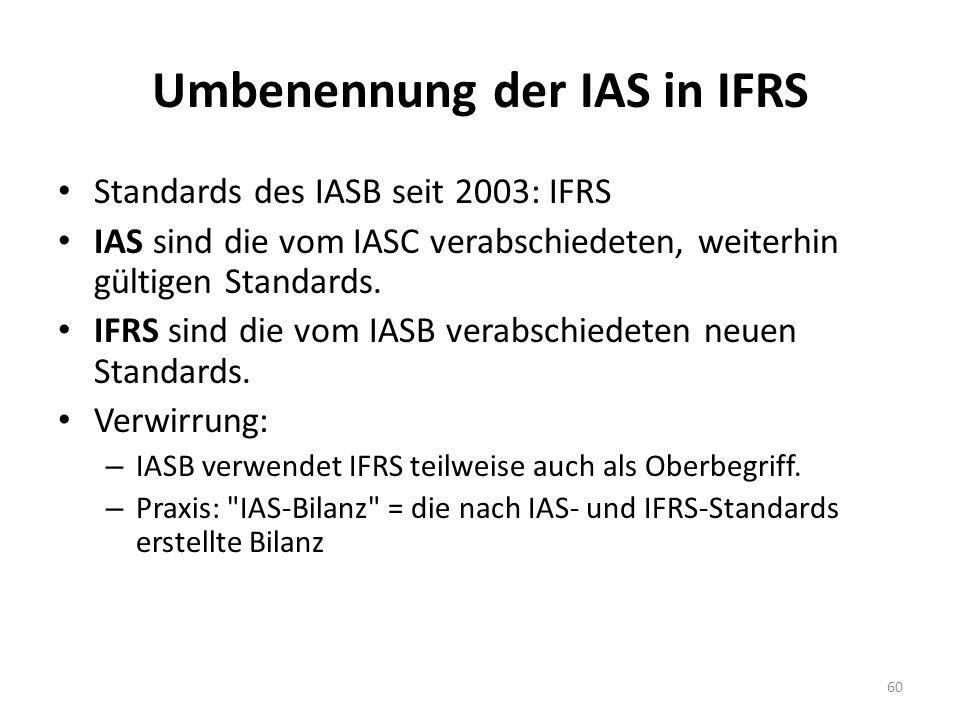 Umbenennung der IAS in IFRS Standards des IASB seit 2003: IFRS IAS sind die vom IASC verabschiedeten, weiterhin gültigen Standards. IFRS sind die vom