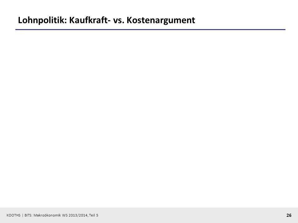 KOOTHS | BiTS: Makroökonomik WS 2013/2014, Teil 5 26 Lohnpolitik: Kaufkraft- vs. Kostenargument