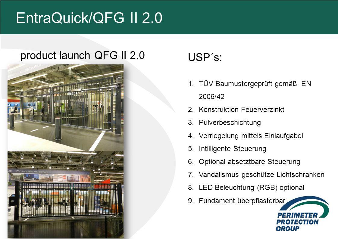 MFZ KONZEPT - Zielsetzung product launch QFG II 2.0 5 EntraQuick/QFG II 2.0 USP´s: 1.TÜV Baumustergeprüft gemäß EN 2006/42 2.Konstruktion Feuerverzinkt 3.Pulverbeschichtung 4.Verriegelung mittels Einlaufgabel 5.Intilligente Steuerung 6.Optional absetztbare Steuerung 7.Vandalismus geschütze Lichtschranken 8.LED Beleuchtung (RGB) optional 9.Fundament überpflasterbar
