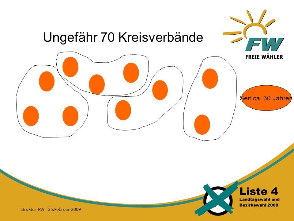 Ungefähr 70 Kreisverbände Seit ca. 30 Jahren Struktur FW - 25.Februar 2009