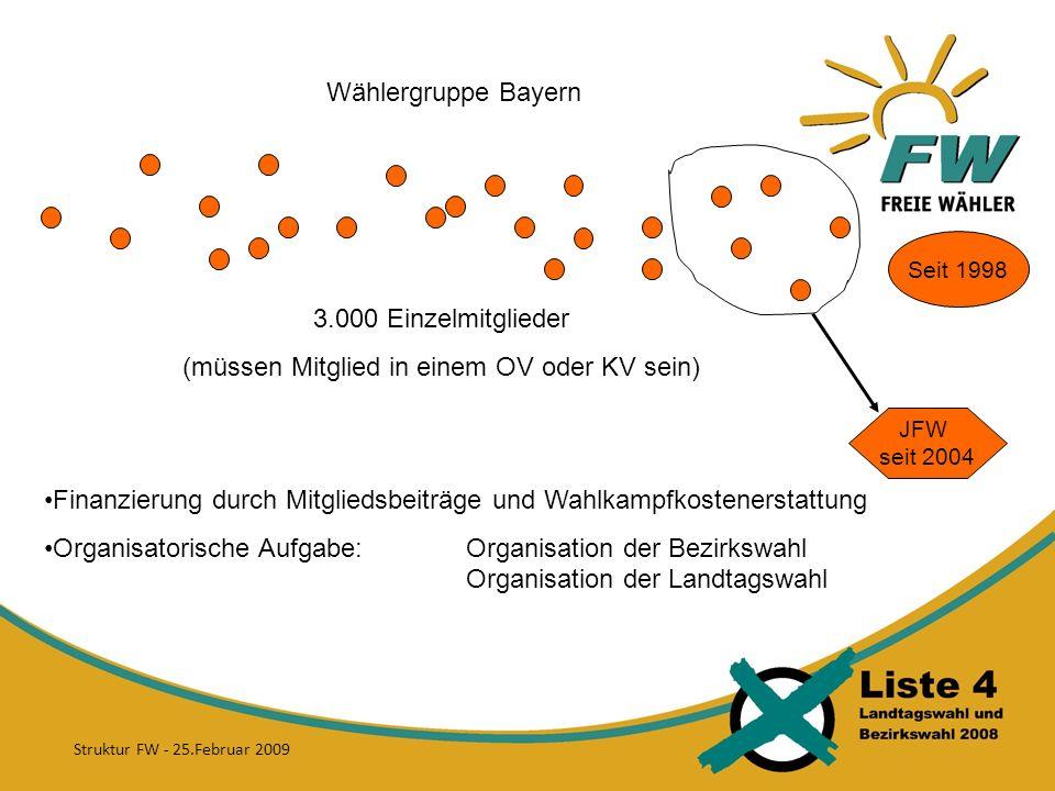 Wählergruppe Bayern 3.000 Einzelmitglieder (müssen Mitglied in einem OV oder KV sein) JFW seit 2004 Seit 1998 Finanzierung durch Mitgliedsbeiträge und Wahlkampfkostenerstattung Organisatorische Aufgabe:Organisation der Bezirkswahl Organisation der Landtagswahl Struktur FW - 25.Februar 2009