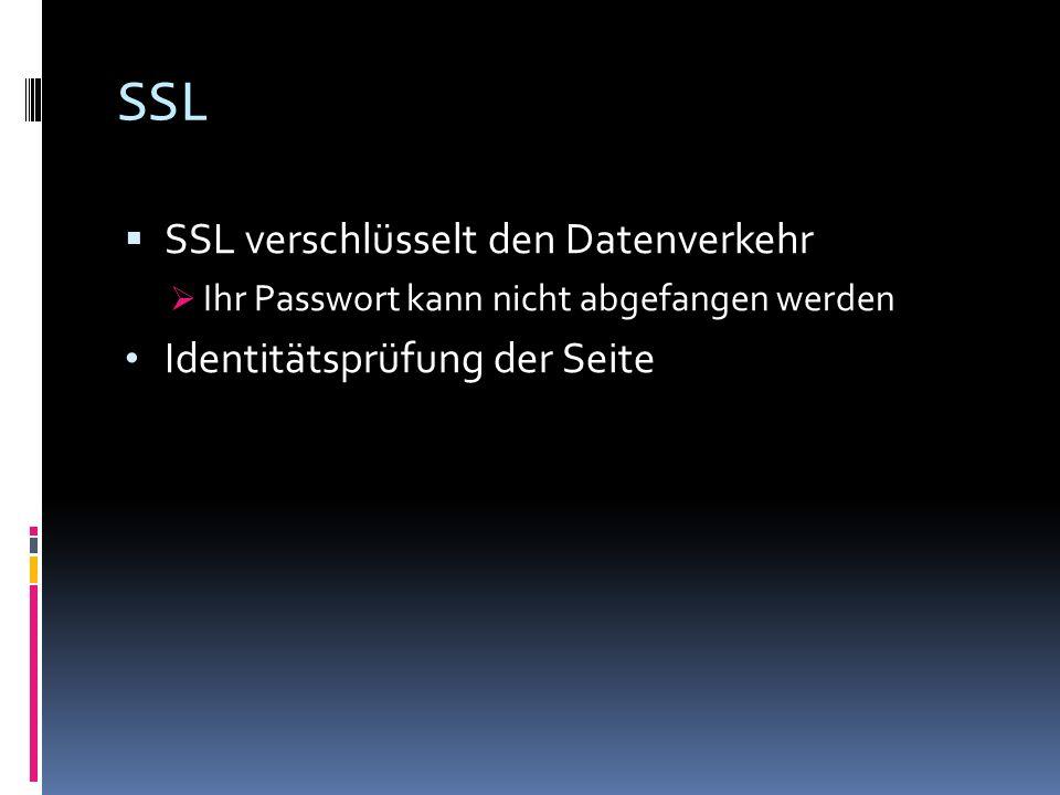 SSL SSL verschlüsselt den Datenverkehr Ihr Passwort kann nicht abgefangen werden Identitätsprüfung der Seite