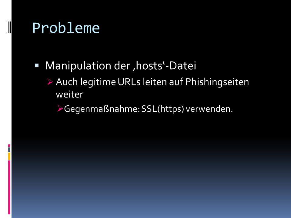 Probleme Manipulation der hosts-Datei Auch legitime URLs leiten auf Phishingseiten weiter Gegenmaßnahme: SSL(https) verwenden.