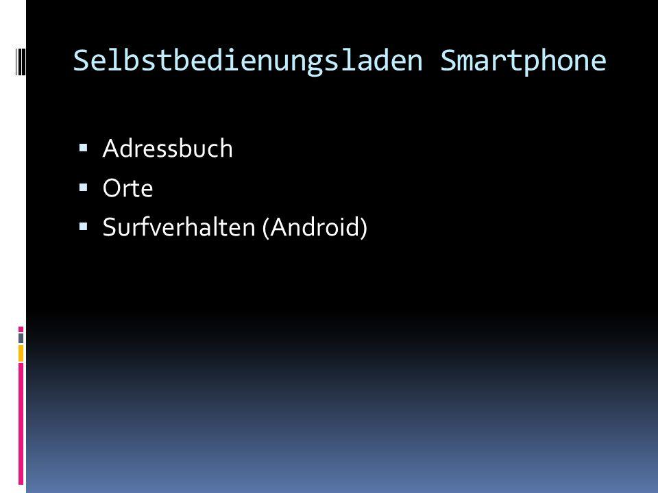 Selbstbedienungsladen Smartphone Adressbuch Orte Surfverhalten (Android)