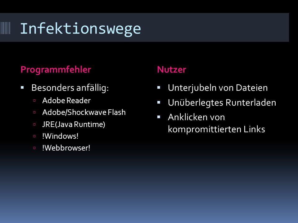 Infektionswege ProgrammfehlerNutzer Besonders anfällig: Adobe Reader Adobe/Shockwave Flash JRE(Java Runtime) !Windows.