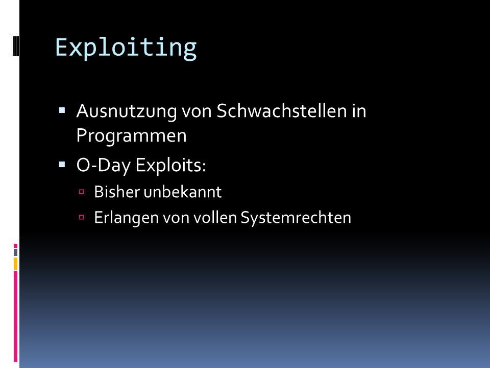 Exploiting Ausnutzung von Schwachstellen in Programmen O-Day Exploits: Bisher unbekannt Erlangen von vollen Systemrechten