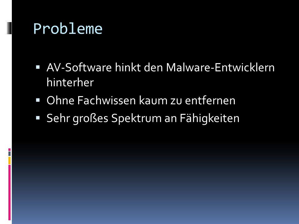 Probleme AV-Software hinkt den Malware-Entwicklern hinterher Ohne Fachwissen kaum zu entfernen Sehr großes Spektrum an Fähigkeiten