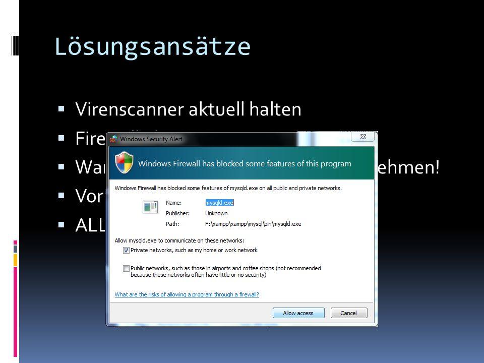 Lösungsansätze Virenscanner aktuell halten Firewall aktivieren Warnmeldungen der Firewall ernst nehmen.