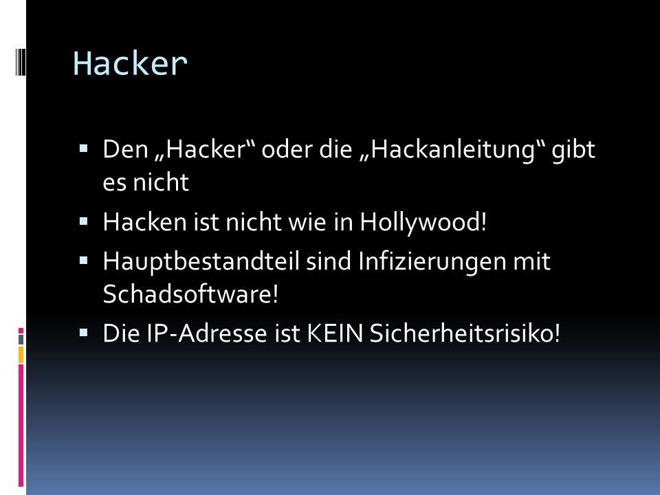 Hacker Den Hacker oder die Hackanleitung gibt es nicht Hacken ist nicht wie in Hollywood.