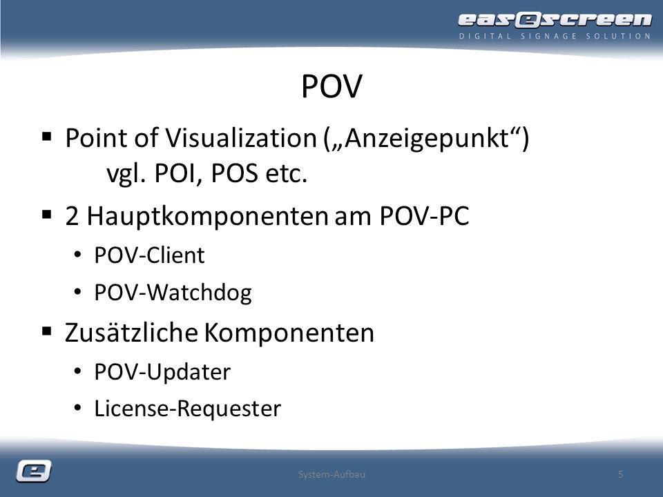 POV Point of Visualization (Anzeigepunkt) vgl. POI, POS etc. 2 Hauptkomponenten am POV-PC POV-Client POV-Watchdog Zusätzliche Komponenten POV-Updater