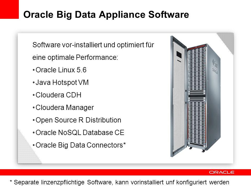 Software vor-installiert und optimiert für eine optimale Performance: Oracle Linux 5.6 Java Hotspot VM Cloudera CDH Cloudera Manager Open Source R Dis