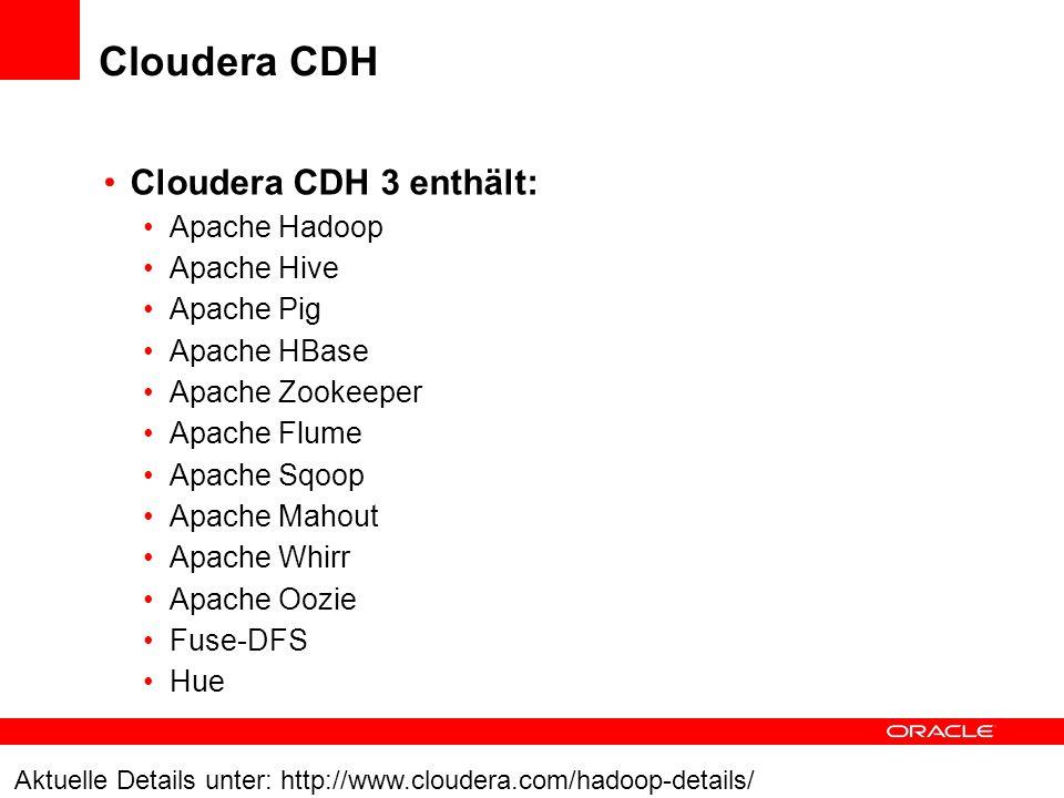 Cloudera CDH Cloudera CDH 3 enthält: Apache Hadoop Apache Hive Apache Pig Apache HBase Apache Zookeeper Apache Flume Apache Sqoop Apache Mahout Apache