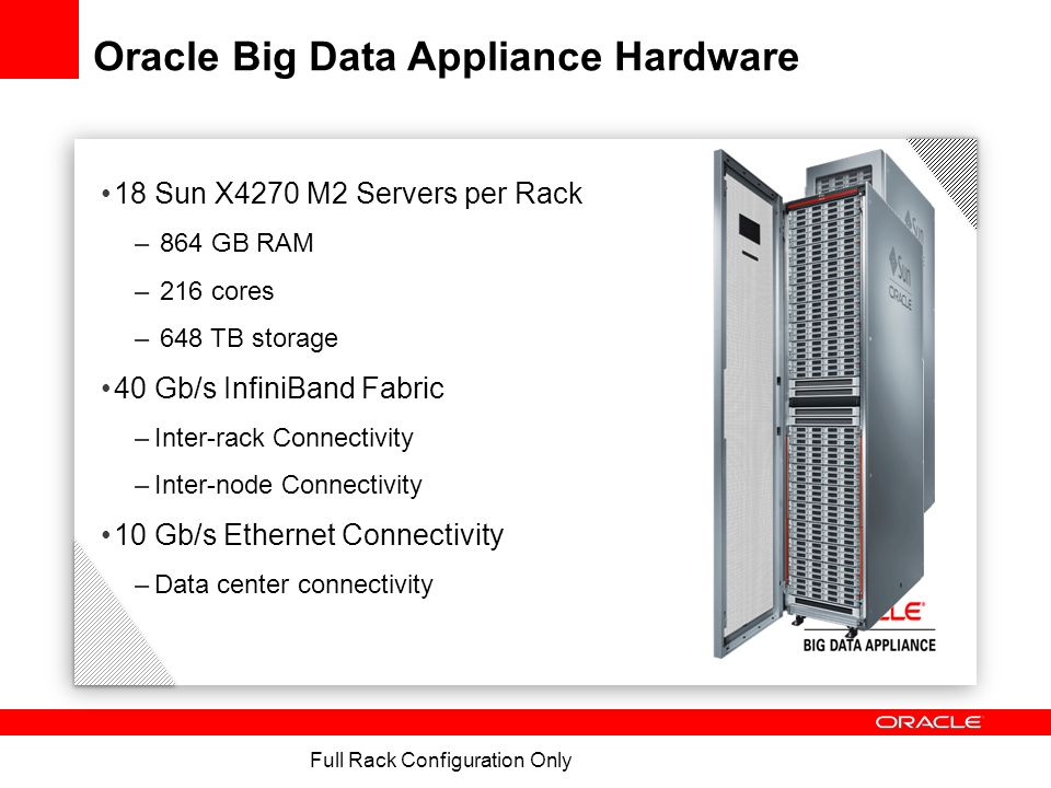 BDA Node – Sun Fire X4270 M2 Processors2 Six-Core Intel® Xeon® X5675 Processors (3.06 GHz) Memory48GB (6 * 8GB) expandable to 96 GB or 144 Disks12 x 3 TB 7.2K RPM High Capacity SAS (hot-swap) Disk ControllerDisk Controller HBA with 512MB Battery Backed Cache Network2 InfiniBand 4X QDR (40Gb/s) Ports ( 1 Dual-port PCIe 2.0 HCA ) 4 Embedded Gigabit Ethernet Ports Remote Management ILOM with 1 Gigabit Ethernet port Power SuppliesRedundant Hot-Swappable power supplies and fans