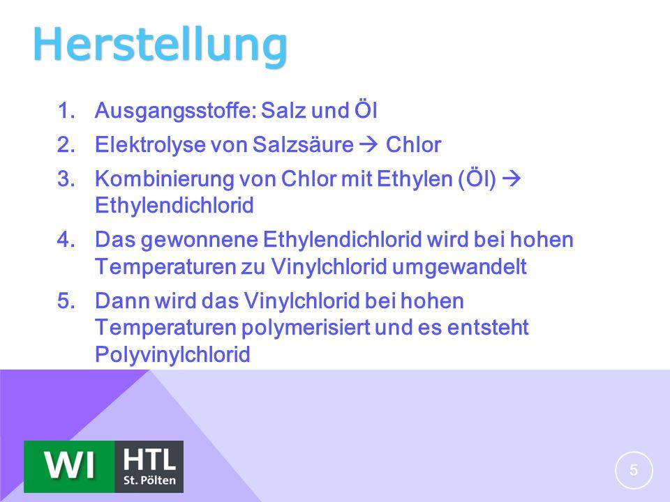 Herstellung 1.Ausgangsstoffe: Salz und Öl 2.Elektrolyse von Salzsäure Chlor 3.Kombinierung von Chlor mit Ethylen (Öl) Ethylendichlorid 4.Das gewonnene