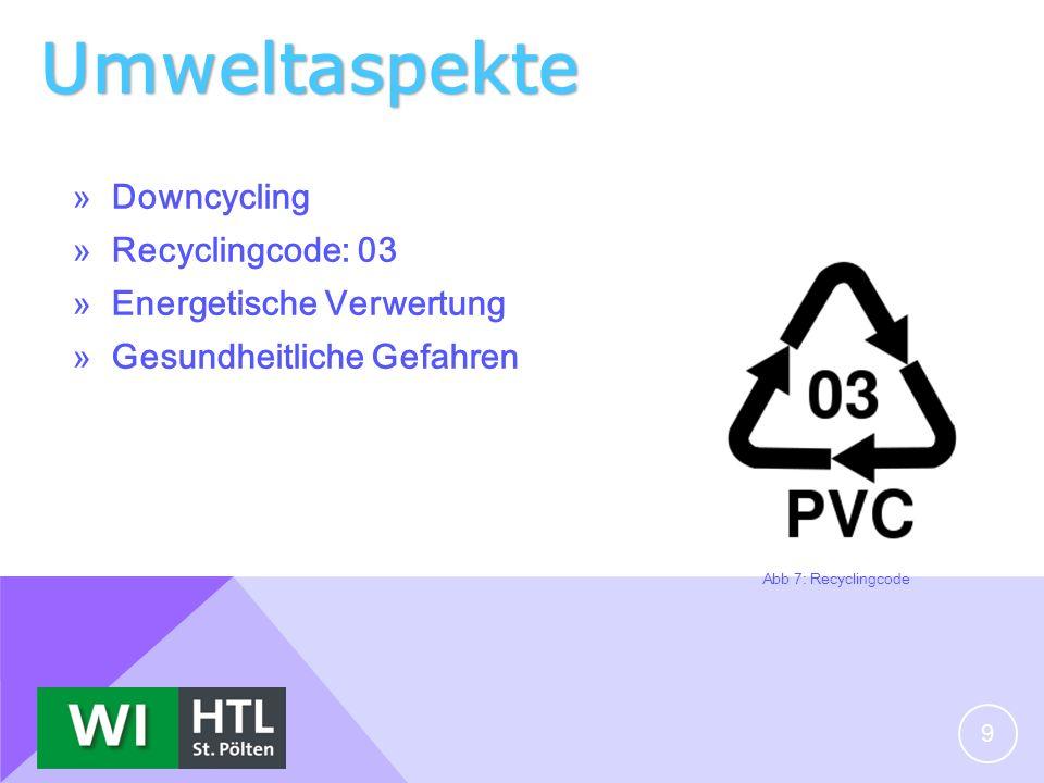Umweltaspekte » Downcycling » Recyclingcode: 03 » Energetische Verwertung » Gesundheitliche Gefahren 9 Abb 7: Recyclingcode