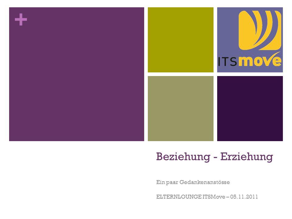 + Beziehung - Erziehung Ein paar Gedankenanstösse ELTERNLOUNGE ITSMove – 05.11.2011