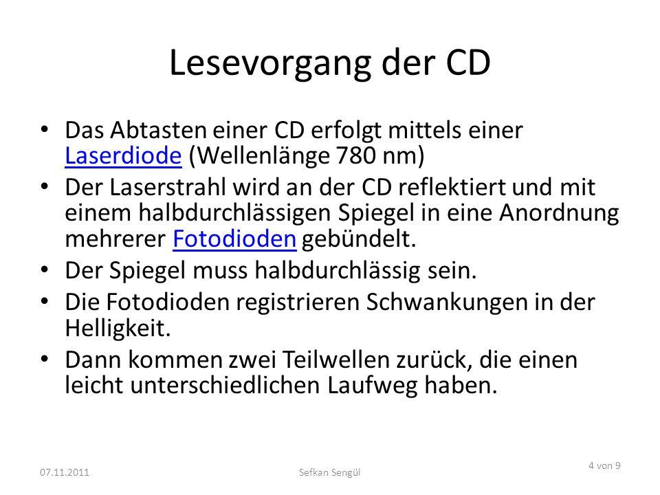 Lesevorgang der CD Das Abtasten einer CD erfolgt mittels einer Laserdiode (Wellenlänge 780 nm) Laserdiode Der Laserstrahl wird an der CD reflektiert und mit einem halbdurchlässigen Spiegel in eine Anordnung mehrerer Fotodioden gebündelt.Fotodioden Der Spiegel muss halbdurchlässig sein.