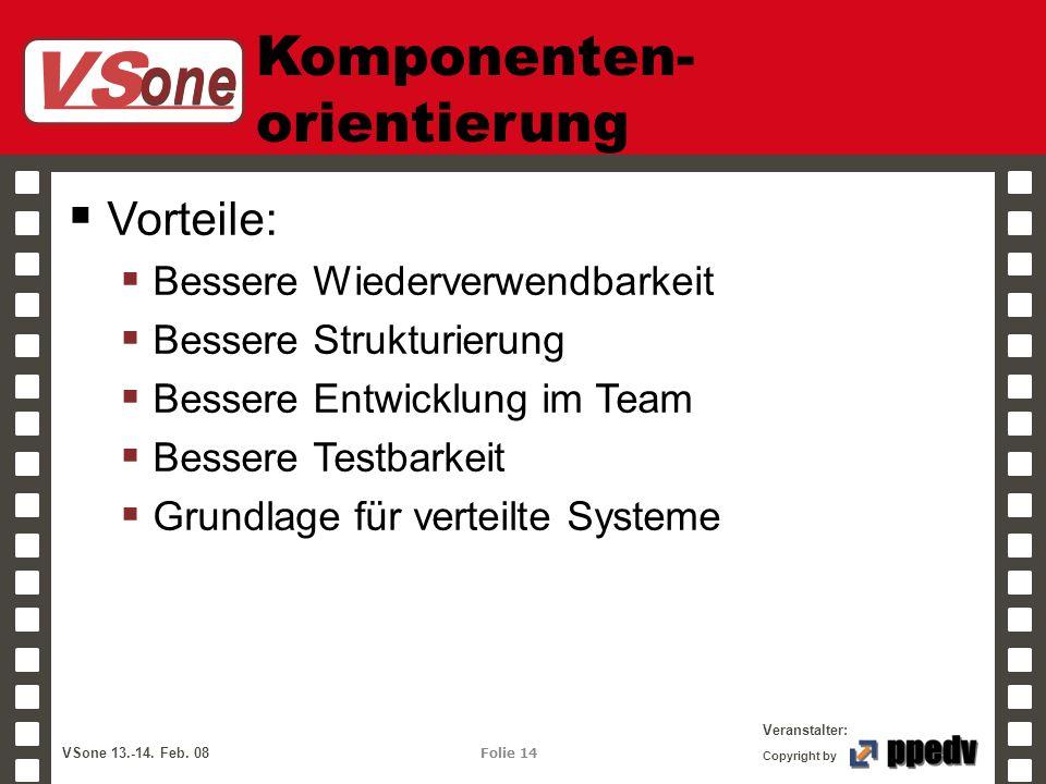 VS one Veranstalter: VSone 13.-14. Feb. 08 Folie 14 Copyright by Komponenten- orientierung Vorteile: Bessere Wiederverwendbarkeit Bessere Strukturieru