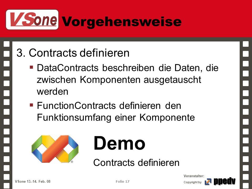 VS one Veranstalter: VSone 13.-14. Feb. 08 Folie 17 Copyright by Vorgehensweise 3. Contracts definieren DataContracts beschreiben die Daten, die zwisc