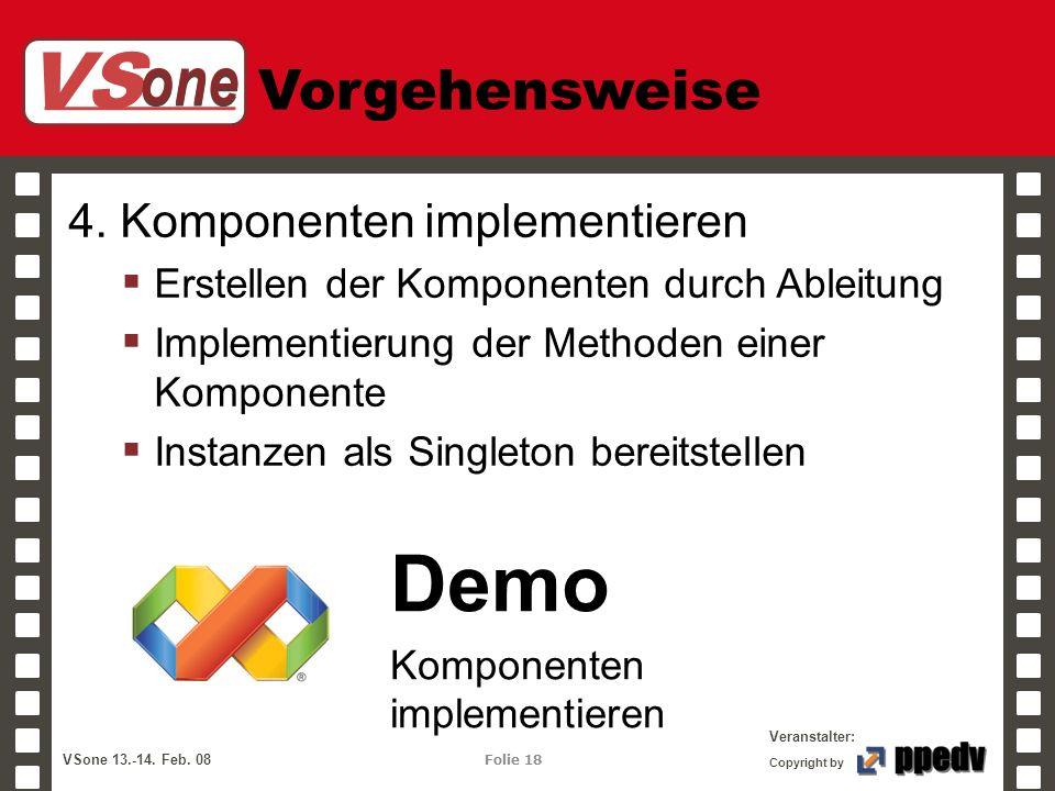 VS one Veranstalter: VSone 13.-14. Feb. 08 Folie 18 Copyright by Vorgehensweise 4. Komponenten implementieren Erstellen der Komponenten durch Ableitun