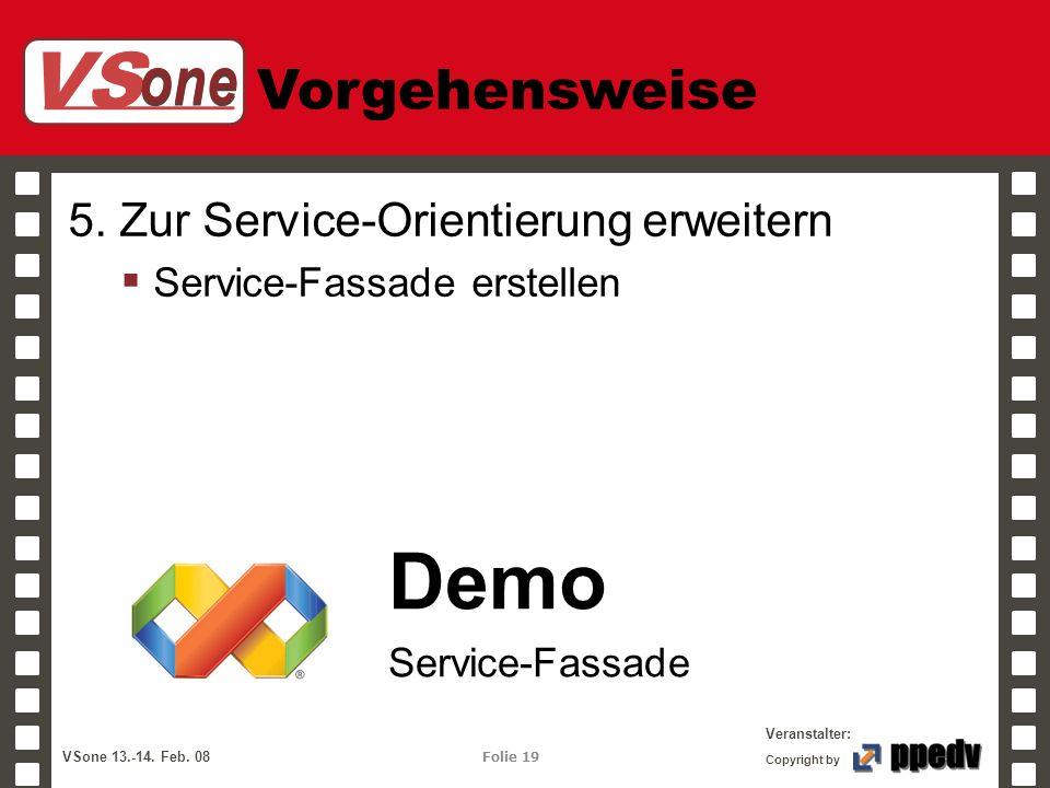 VS one Veranstalter: VSone 13.-14. Feb. 08 Folie 19 Copyright by Vorgehensweise 5. Zur Service-Orientierung erweitern Service-Fassade erstellen Demo S