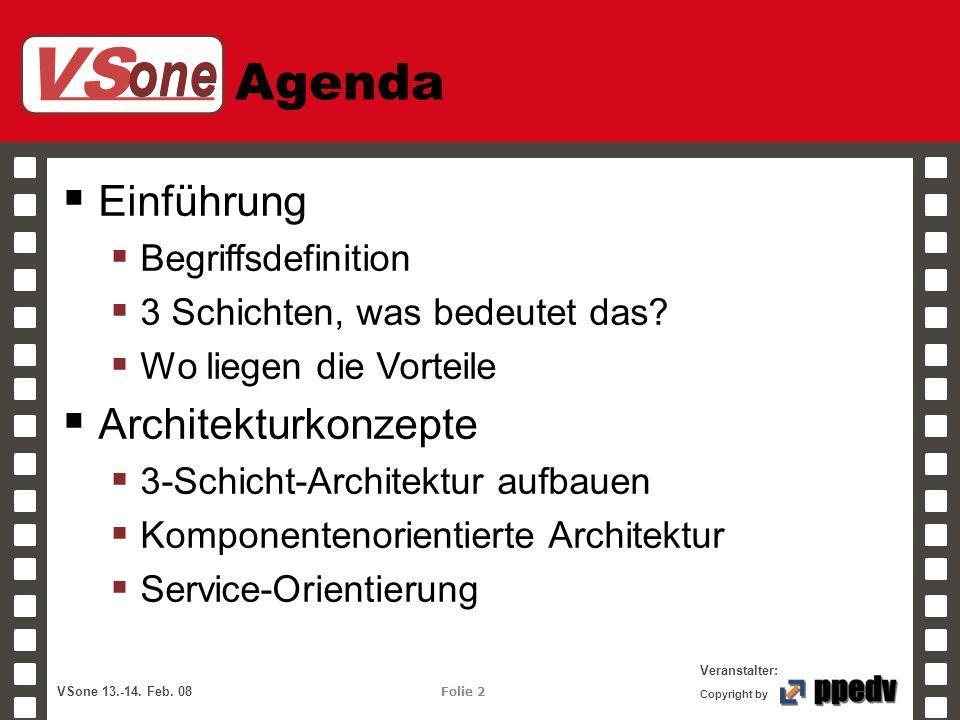 VS one Veranstalter: VSone 13.-14. Feb. 08 Folie 2 Copyright by Agenda Einführung Begriffsdefinition 3 Schichten, was bedeutet das? Wo liegen die Vort