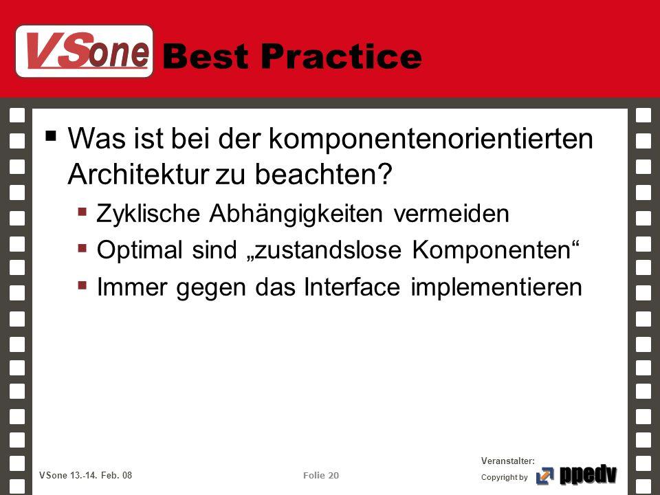 VS one Veranstalter: VSone 13.-14. Feb. 08 Folie 20 Copyright by Best Practice Was ist bei der komponentenorientierten Architektur zu beachten? Zyklis