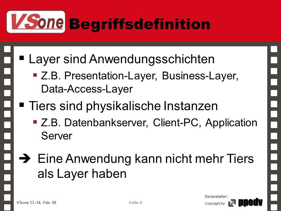 VS one Veranstalter: VSone 13.-14. Feb. 08 Folie 4 Copyright by Begriffsdefinition Layer sind Anwendungsschichten Z.B. Presentation-Layer, Business-La